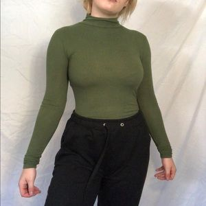 Green Topshop turtle neck bodysuit!